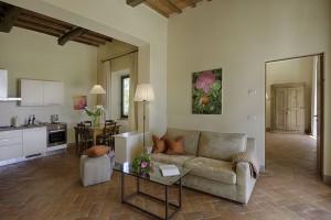 Wohnzimmer in einem der Appartements von Chianti & More