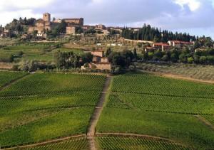 Das Dorf und die Burg in Panzano in Italien